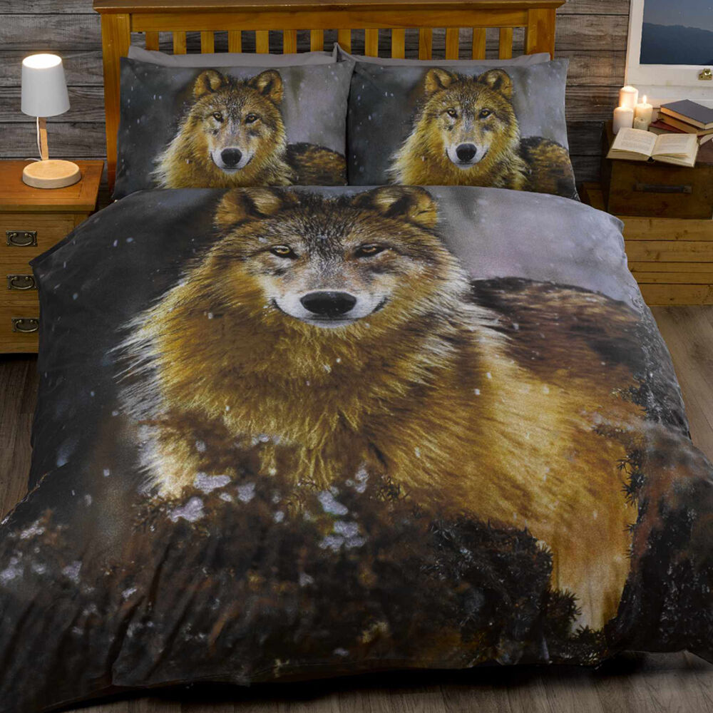 animal print twilight wolf husky dog quilt duvet cover bedding set new ebay. Black Bedroom Furniture Sets. Home Design Ideas