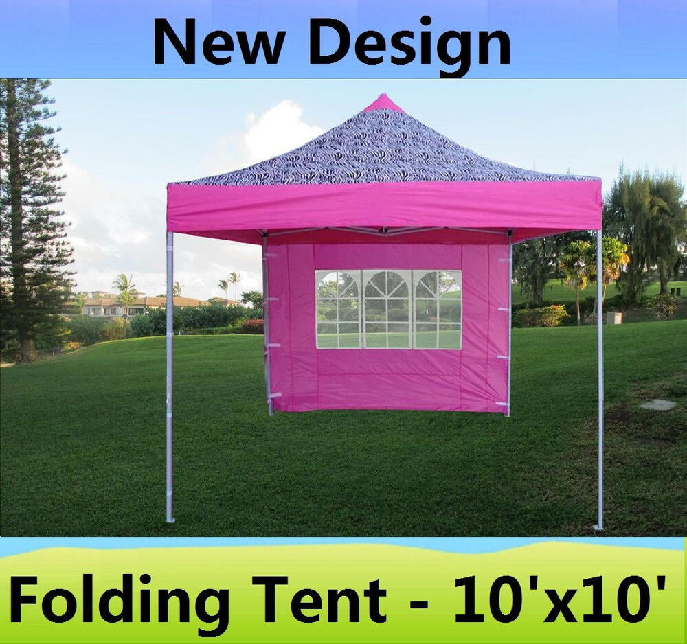 10 X 10 Pop Up Canopy Party Tent Gazebo Ez Pink Zebra