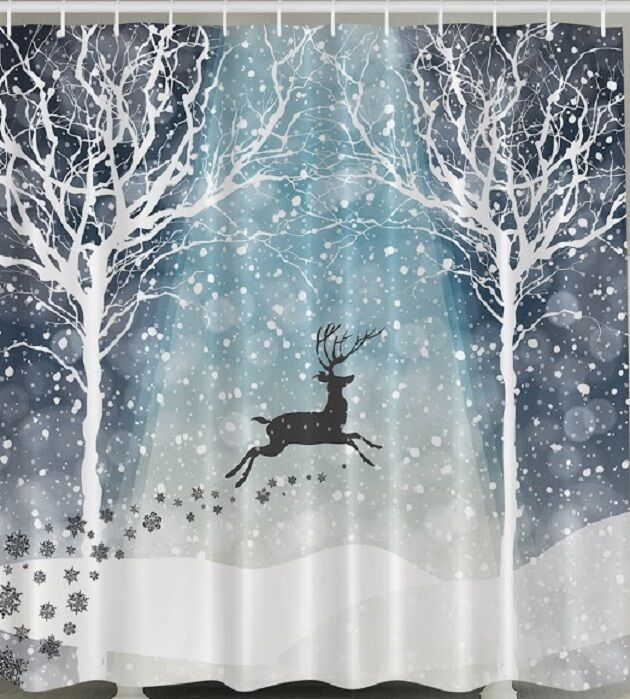 Reindeer Forest Snow Fabric Shower Curtain Christmas Holiday Trees Bath Decor Ebay