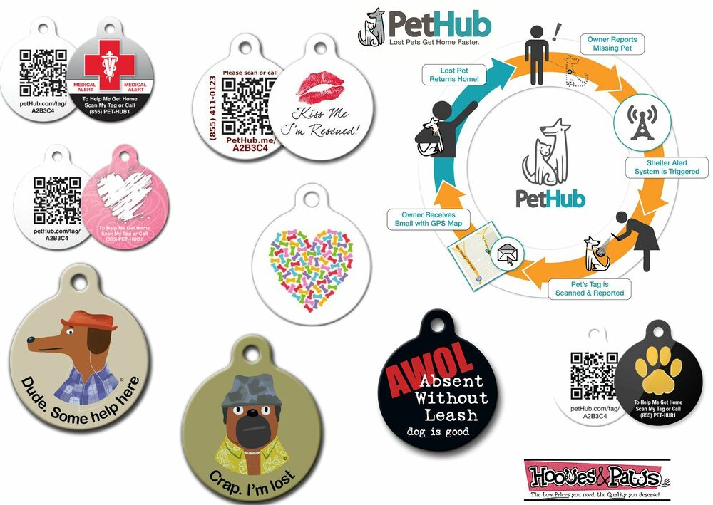 Digital id dog tag puppy pet smartphone collar qr code ebay for Qr code dog tag