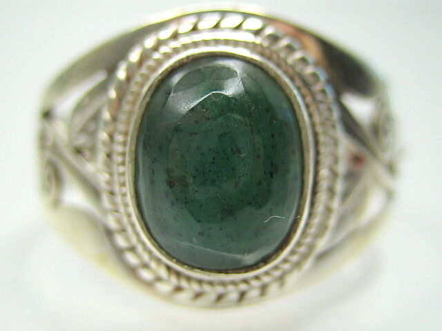 2 76CT VINTAGE NATURAL EMERALD STERLING SILVER MENS RING 10 T1 2