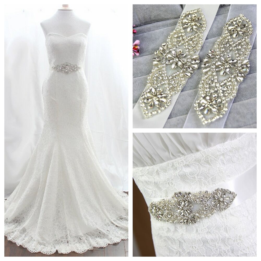 Vintage crystal pearl bridal rhinestone wedding dress for Wedding dress belt sash