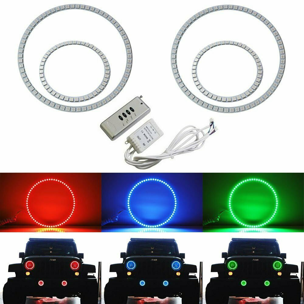 Rgb Multi Color Led Angel Eyes Halo Rings For Jeep