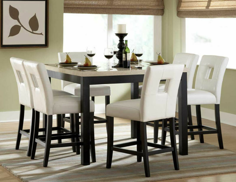 Faux marble counter height dining table chairs dining room for What size dining table for 12x11 room