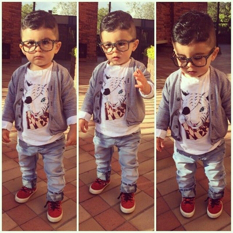 Stylish 3pcs Toddler Kids Baby Boy Jacket Tops Jeans Pants