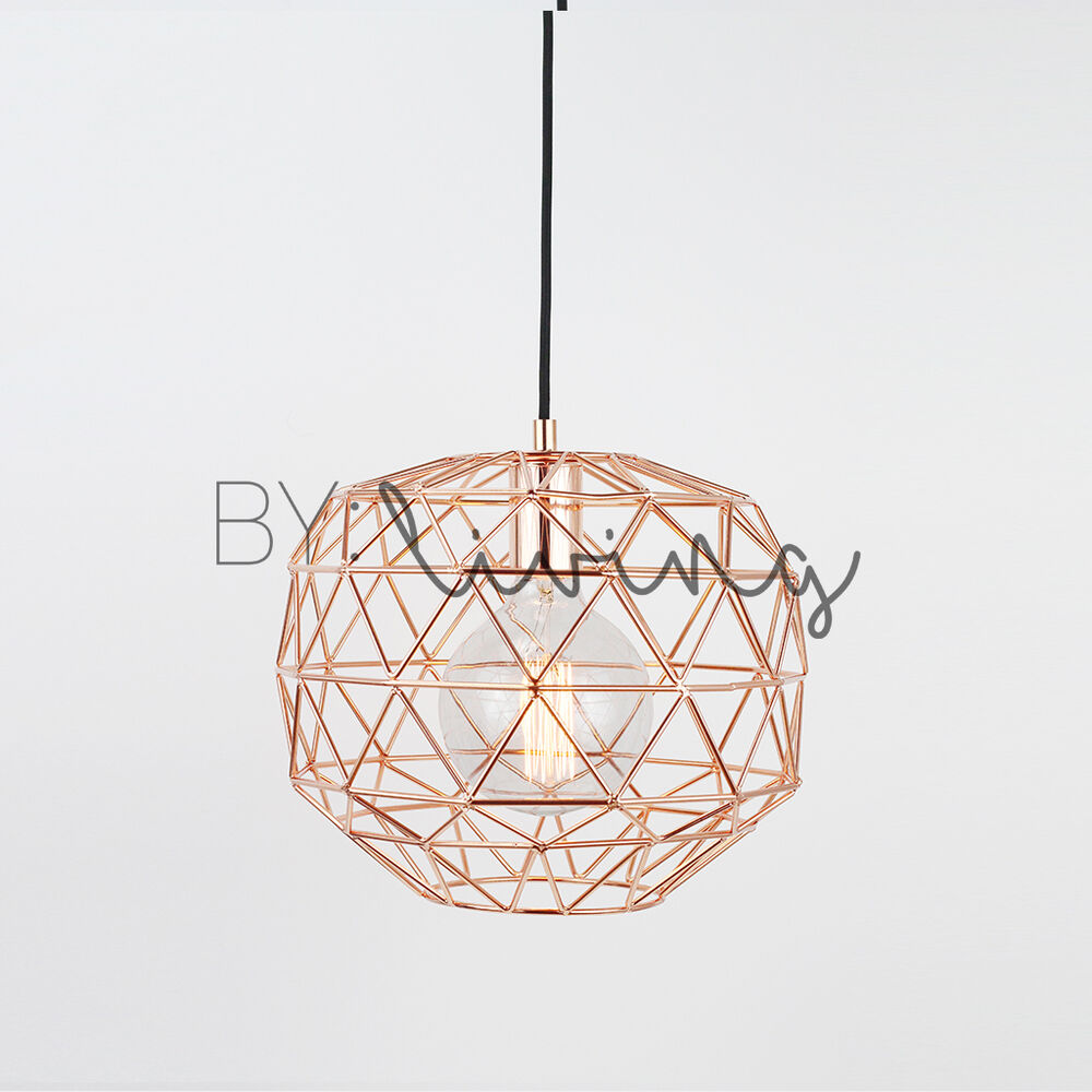 Modern Nordic Minimal Copper Round Metal Wire Cage Hanging