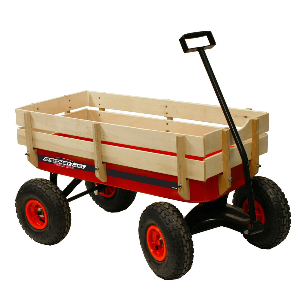 Speedway All Terrain Racer Steel Red Wagon With Wood Sides