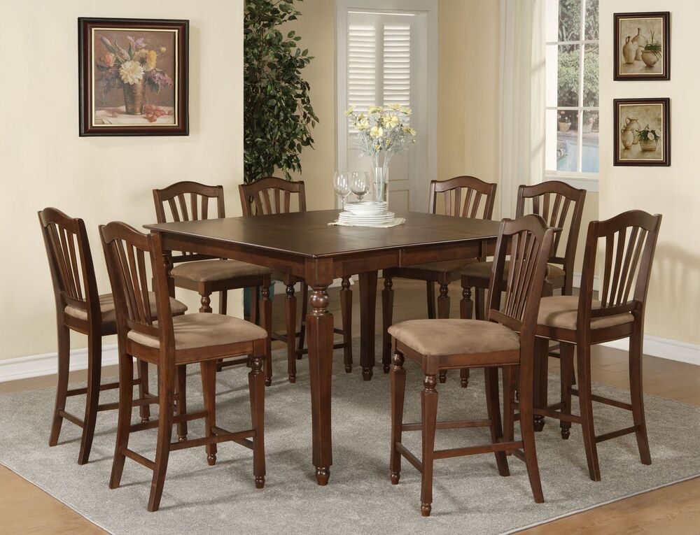 Chelsea 5pc Set Counter Height Table W 4 Microfiber