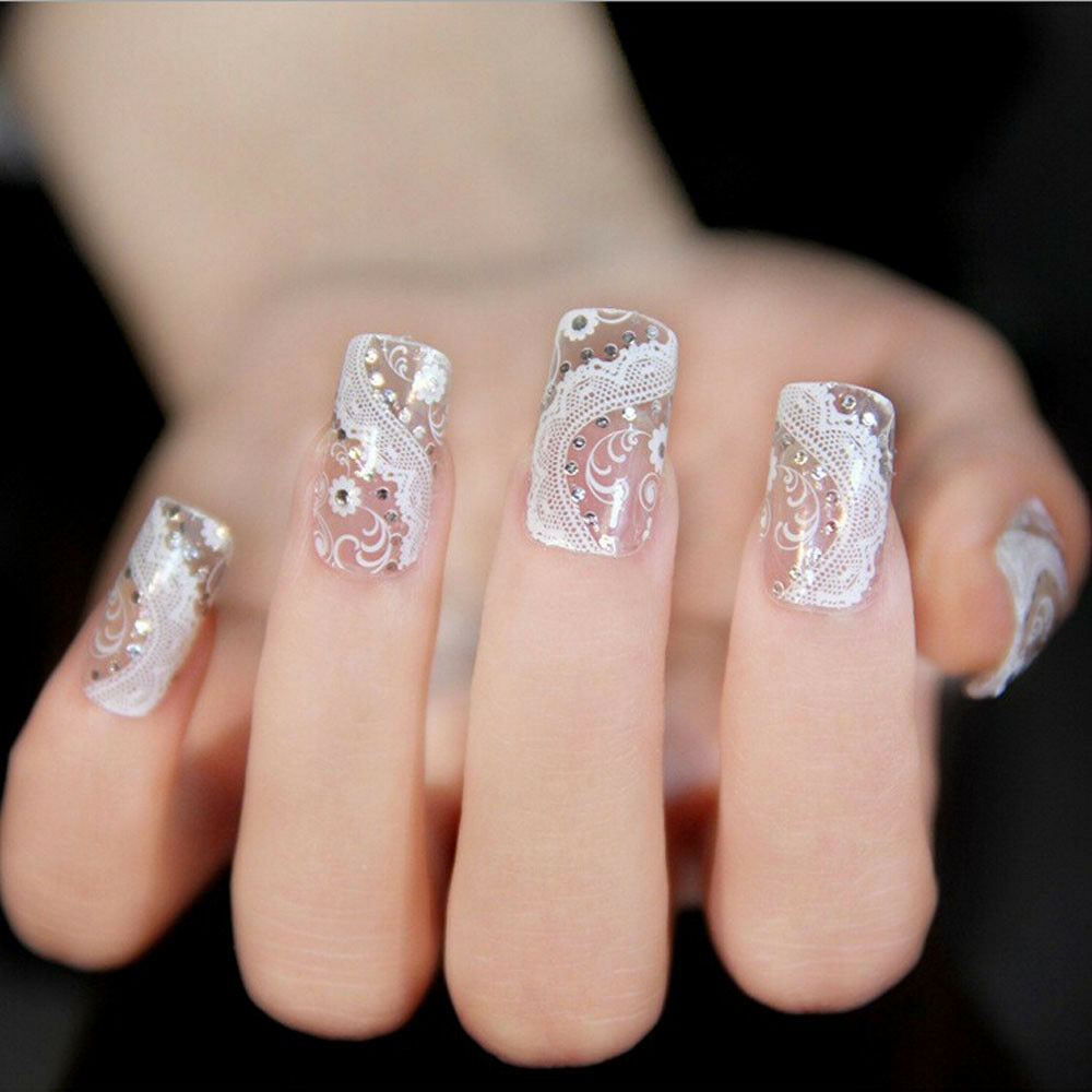 Fashion Trendy Lace Diamond Flower Design Stickers Nail ...