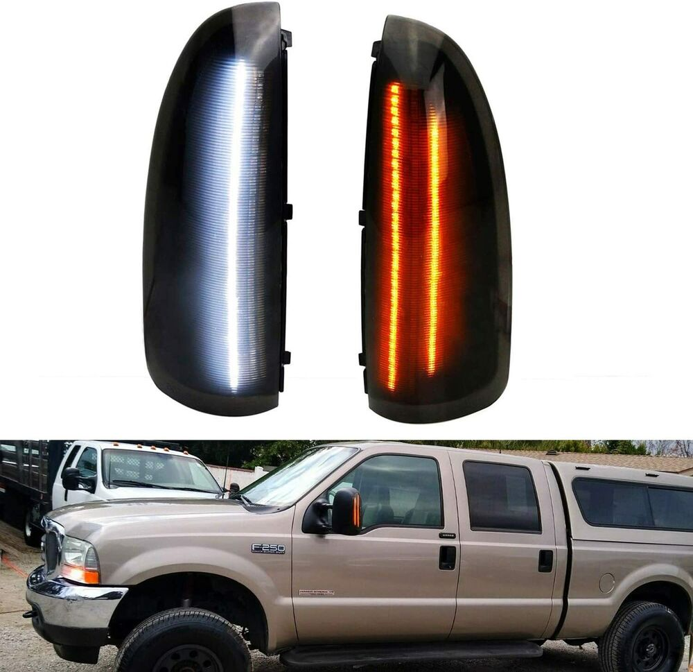 Smoked Lens Amber Led Side Mirror Marker Lights For Ford