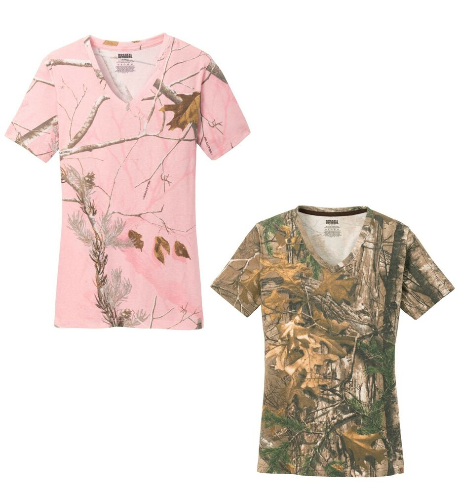 Ladies Camouflage Realtree Pink Xtra Camo V Neck T