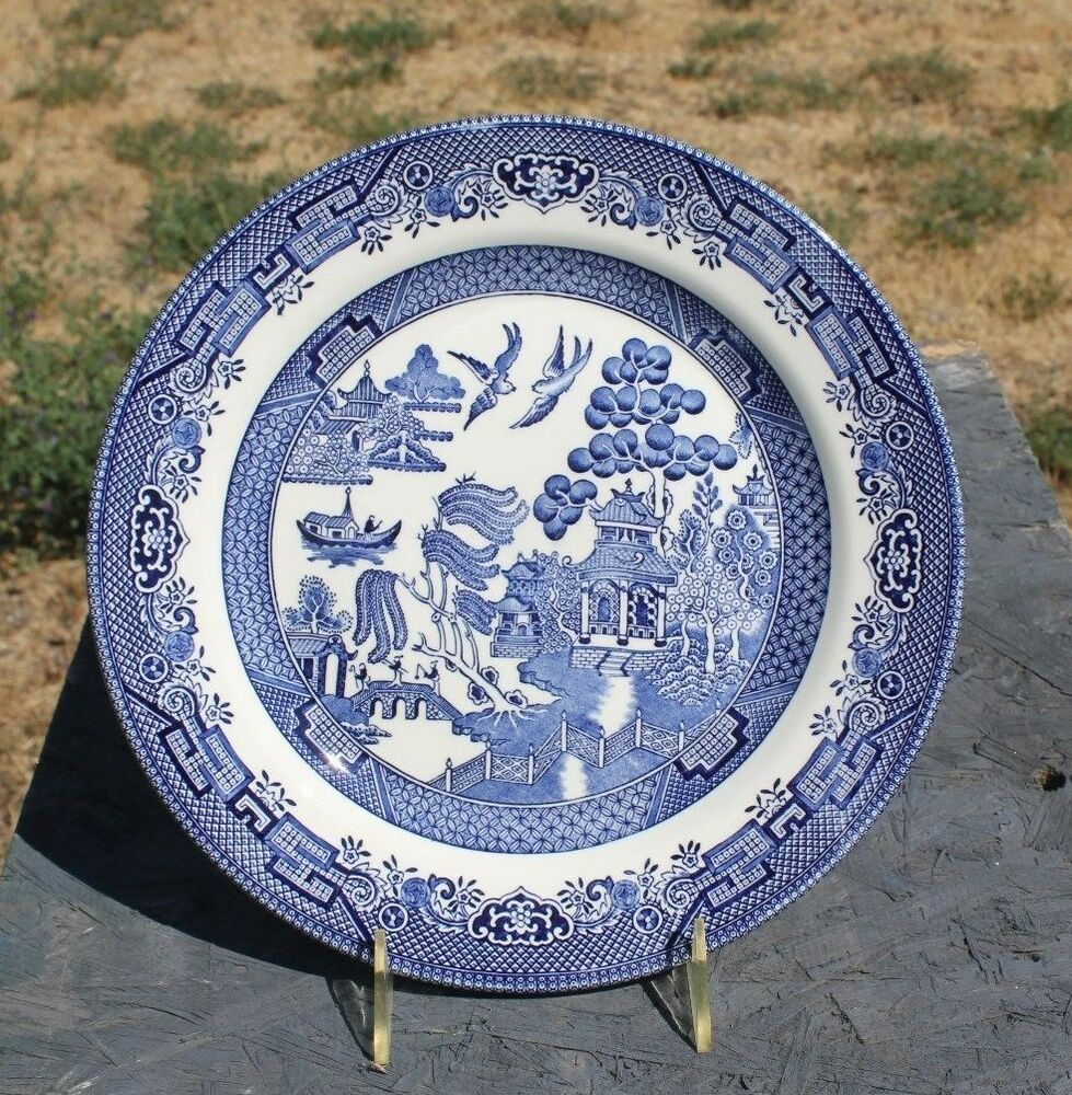 churchill blue willow dinner plate made in england ebay. Black Bedroom Furniture Sets. Home Design Ideas