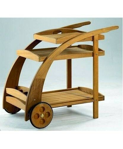 Wood Serving Cart ~ Teak wood trolley cart with serving tray bottle rack