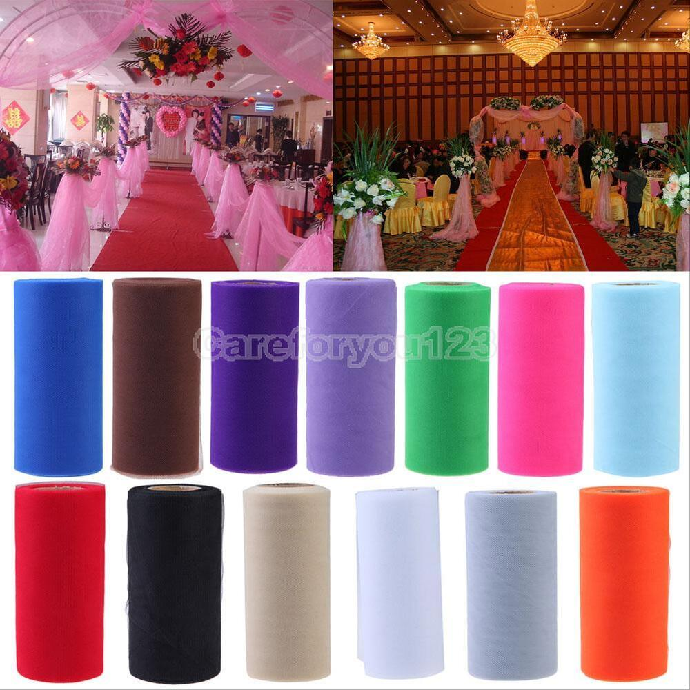 roll of organza soft tulle sheer fabric wedding table runner chair bow decor ebay. Black Bedroom Furniture Sets. Home Design Ideas