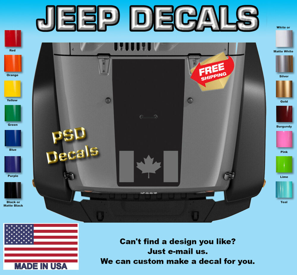 Truck Back Window Decals >> Jeep Decals Jeep Wrangler Blackout Canadian Flag Vinyl Hood Decal H168 | eBay