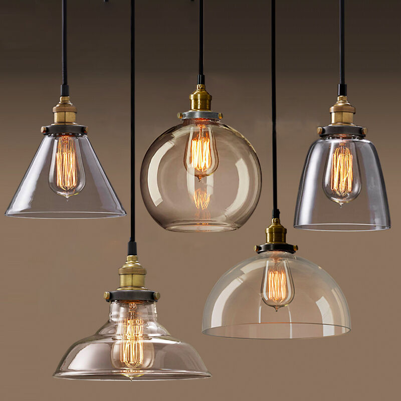 Permo pendant light chandelier vintage industrial clear for Globe luminaire interieur