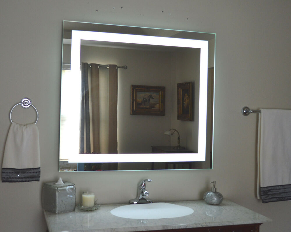 Mam84436 44w x 36h lighted vanity mirror wall mounted for Wall mounted mirror