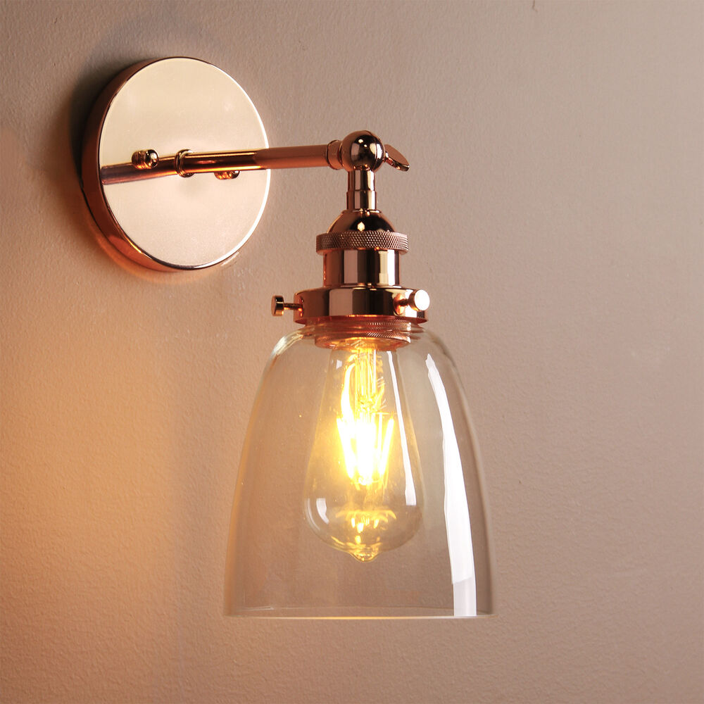 VINTAGE INDUSTRIAL CAFE GLASS CHROME BRASS RUSTIC SCONCE WALL LIGHT WALL LAMP eBay