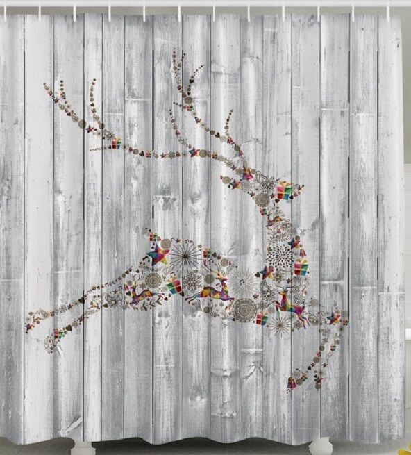 Christmas Reindeer Fabric SHOWER CURTAIN Panels Holiday