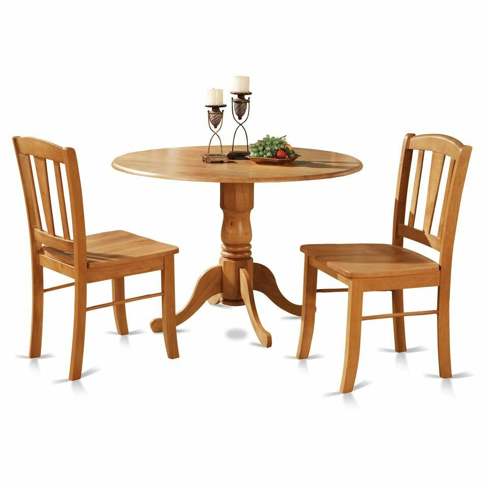 3pc round pedestal drop leaf kitchen table 2 chairs for Solid wood round dining table with leaf