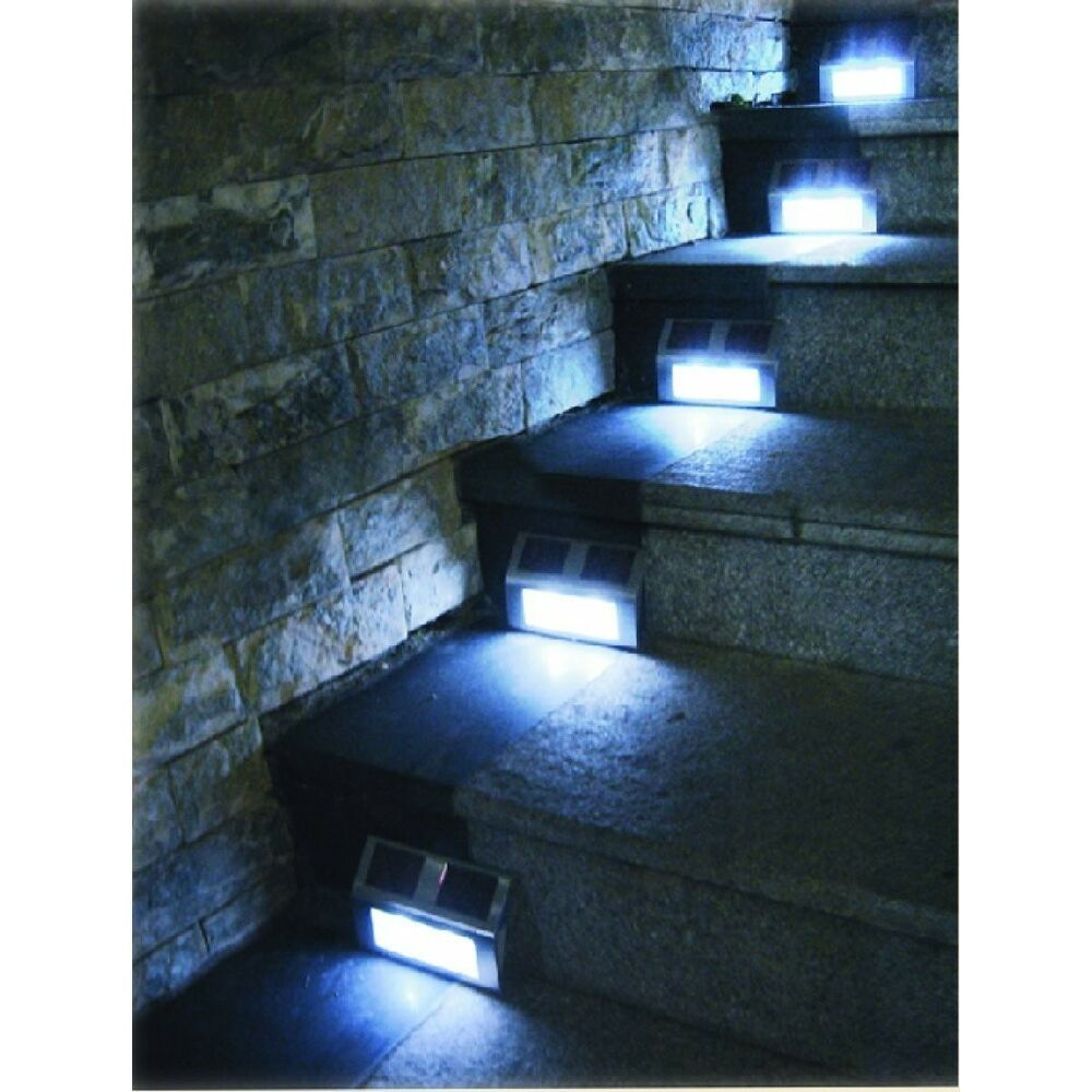 Exterior Solar Step Lights: 6 Solar Powered Steel LED Lights Pathway Path Step Stair