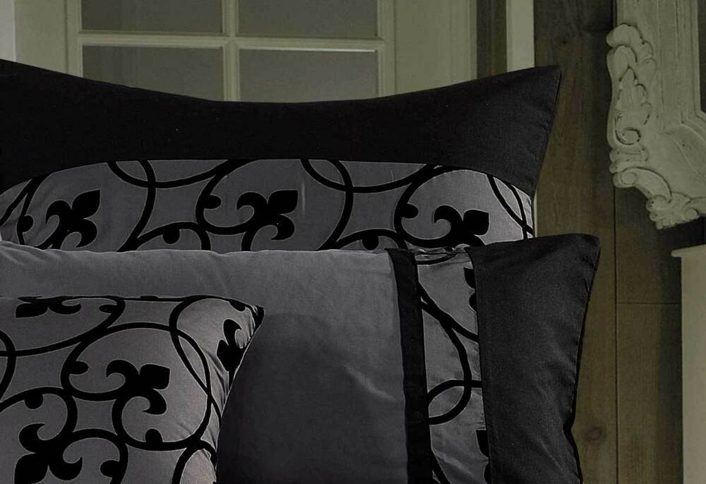 Lyde Black Charcoal Grey Quilt Cover Set King Queen