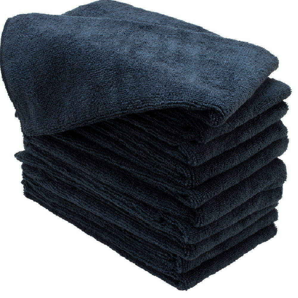Largest Microfiber Towel: 96 NEW LARGE 16X27 BLACK MICROFIBER TOWELS CLEANING CLOTHS