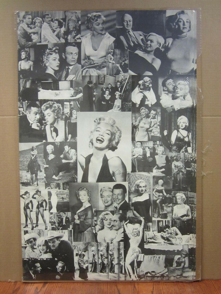 vintage marilyn monroe collage poster black and white 3760