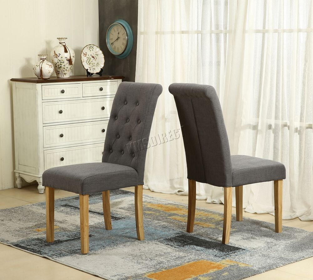 Foxhunter grey linen fabric dining chairs scroll high back office room dcf02 x2 ebay - Grey fabric dining room chairs designs ...