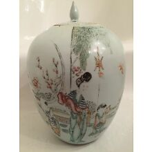 1800's ANTIQUE Chinese Porcelain Ginger Jar and Calligraphy