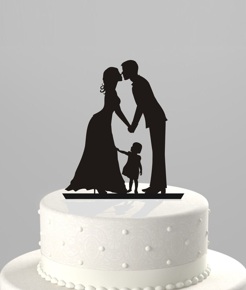 Bride Wedding Cake Topper: Wedding Cake Topper Silhouette Bride/Groom W/ Girl; Kiss