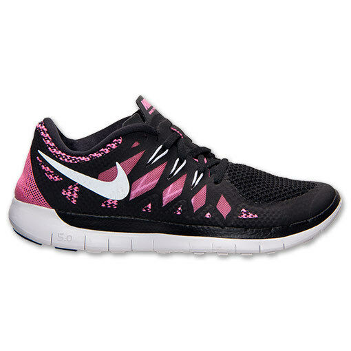 9b7855663bc Details about New Nike Youth Free Run 5 GS Shoes (644446-001) Black Metallic  Silver Pink Glow