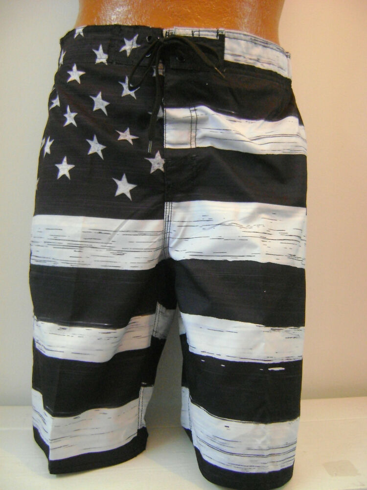 085c35b0d7 Details about MEN'S American FLAG SWIM TRUNK BOARD SHORTS Black & White OLD  GLORY USA