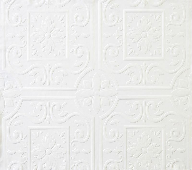 Faux tin ceiling tile textured puffy paintable wallpaper - Textured wallpaper on ceiling ...