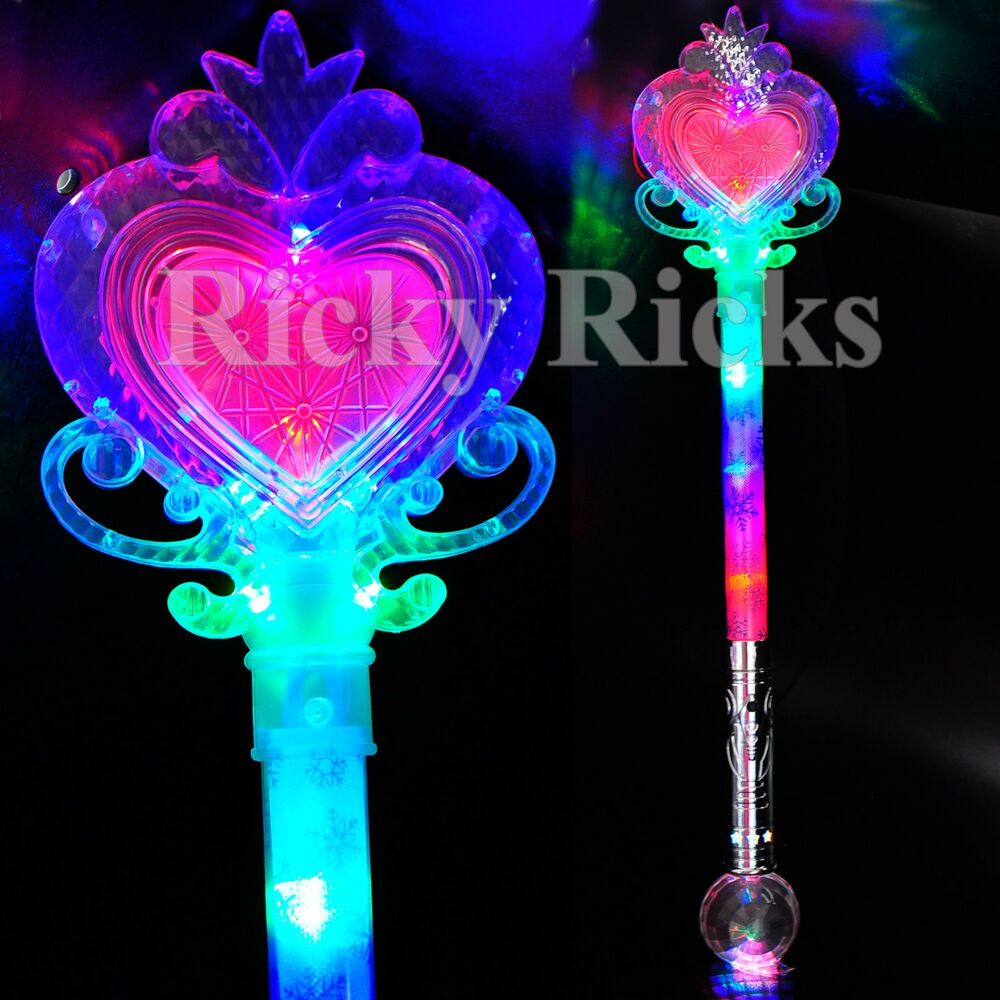 12 pcs light up princess wand frozen crystal led heart for Light up wand