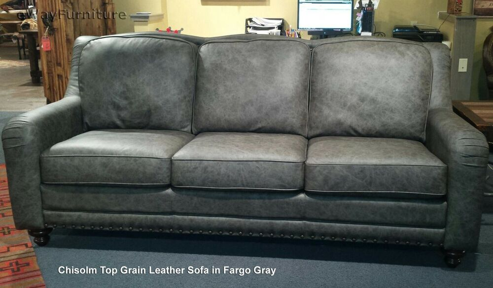 Couch Made Of Leather: Chisolm Fargo Gray 100% Hand Cut Top Grain Leather Sofa