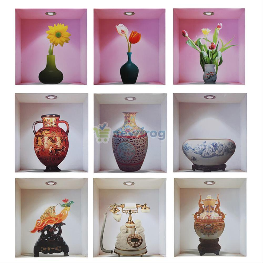 Vintage 3D Vase Floral Home Decor Removable Wall Sticker