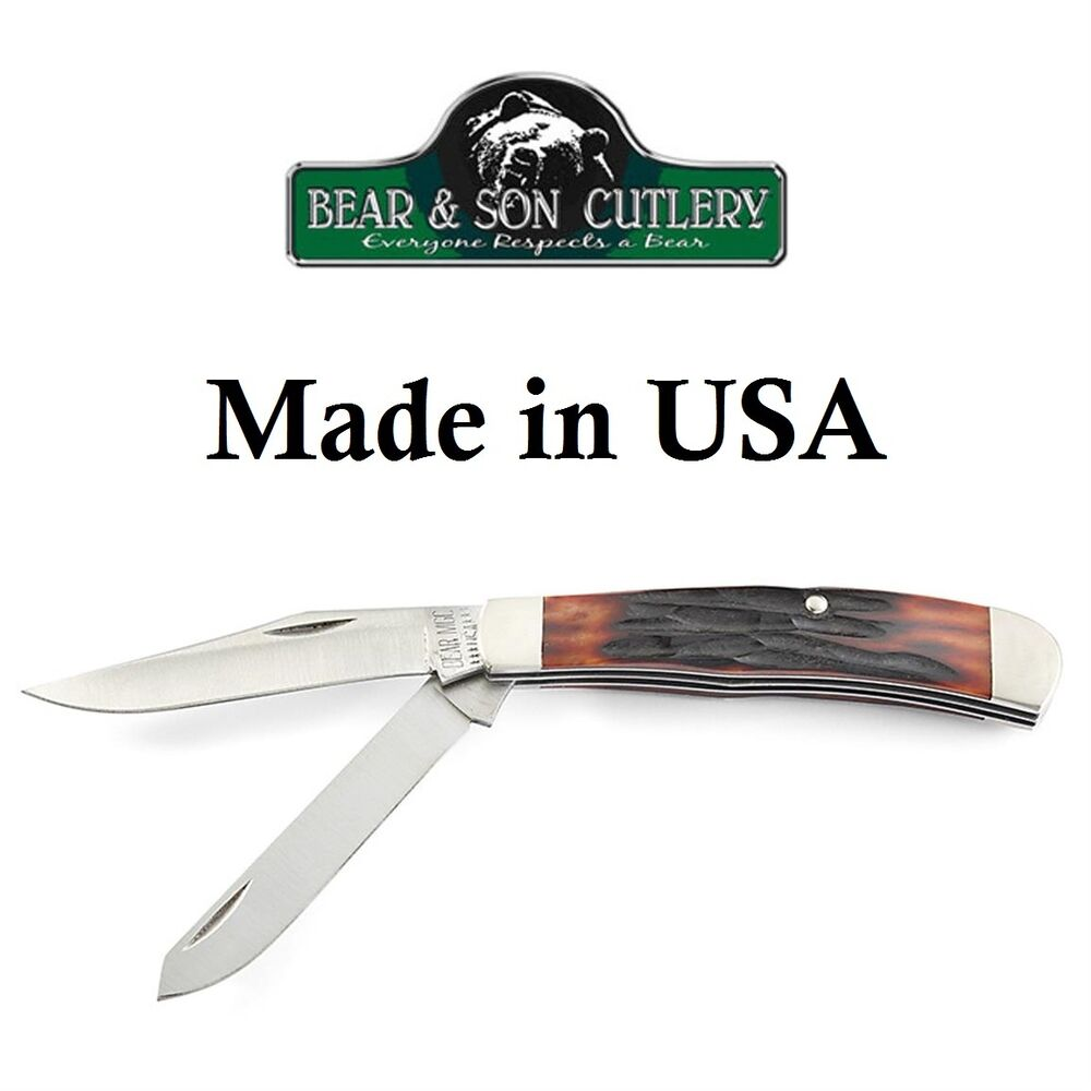 kitchen knives made in usa bear son cutlery 3 1 2 quot two blade trapper red jigged