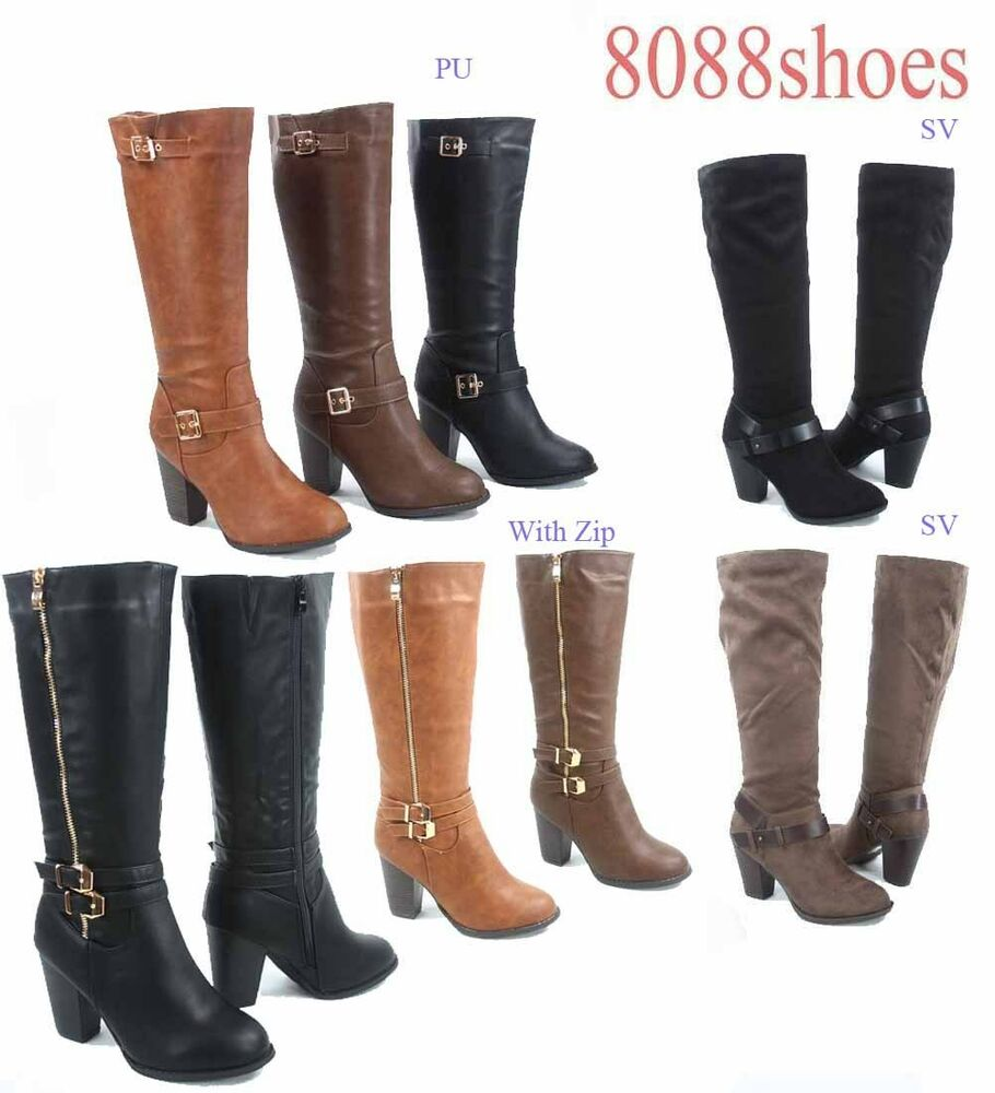 s buckle zipper chunky heel mid calf knee high boots