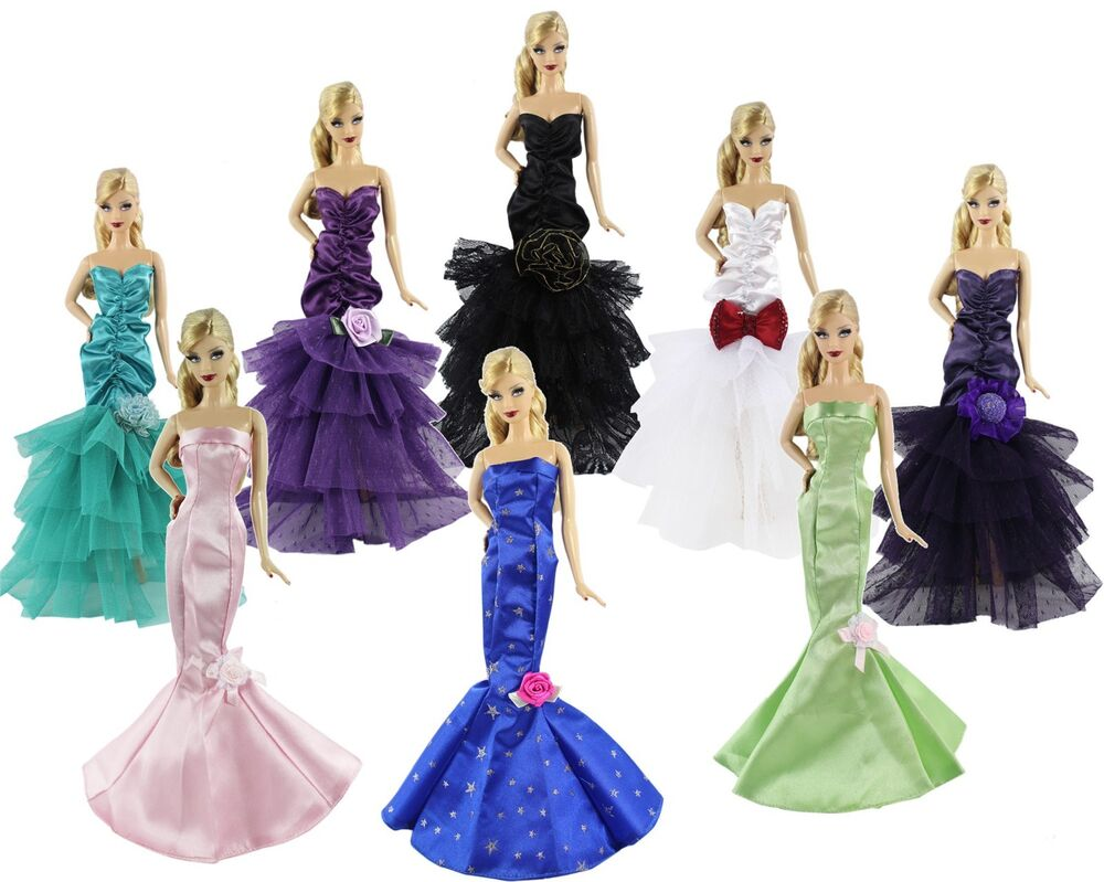 5 X Random Diffirence Style Fashion Clothes Outfit Dress For Barbie Doll N02 Ebay