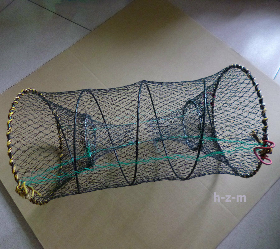25cm x 45cm cylinderical folding shrimp crawfish crab trap for Dip nets for fishing