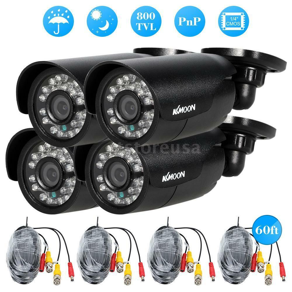 Exterior Home Security Cameras: KKMOON 4pcs 800TVL CCTV Outdoor Home Surveillance Security