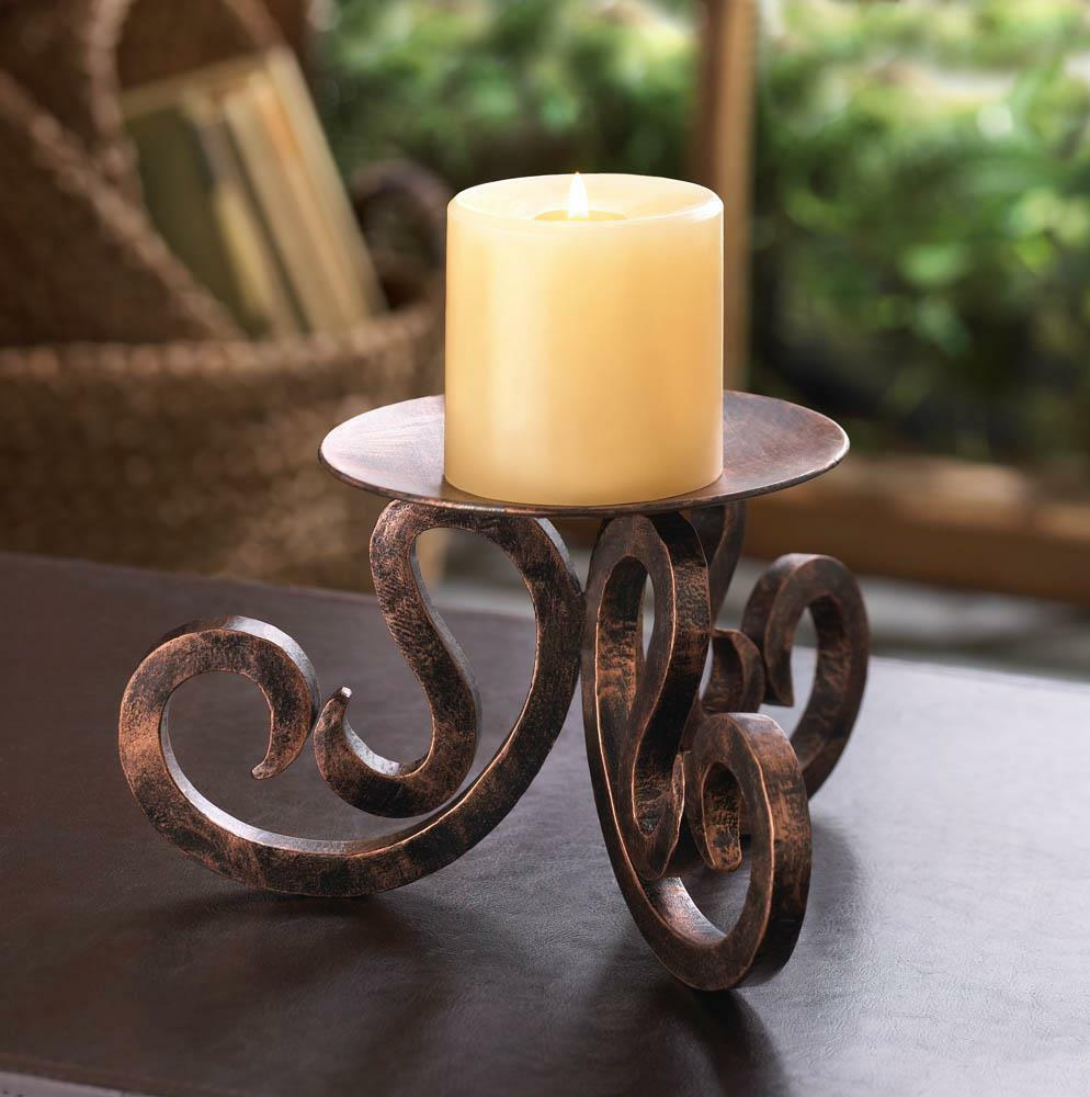 Brown Iron Scrollwork 3 Wick 8 Quot Wide Pillar Large Candle