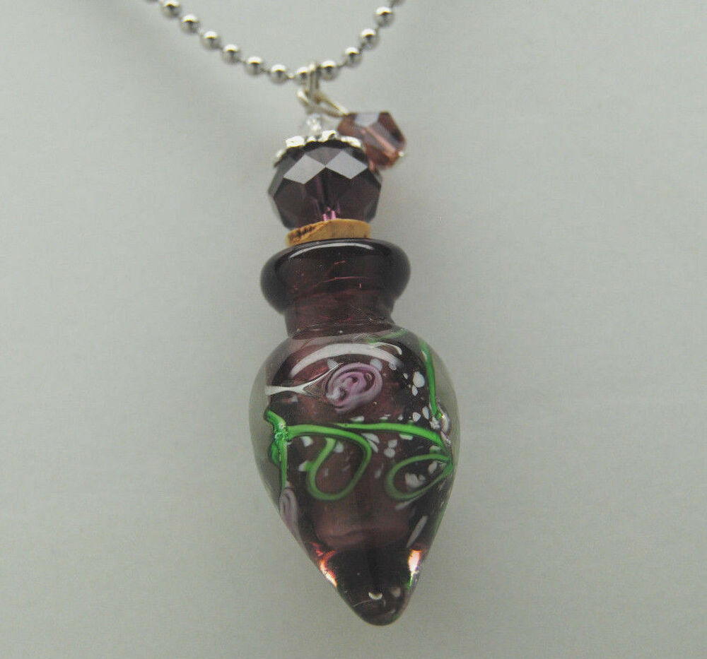 ashes to glass jewelry cremation jewelry purple glass urn necklace memorial 6581