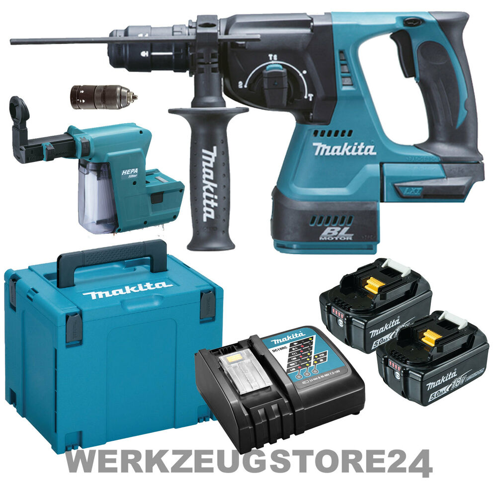 makita dhr243rtjv akku kombihammer f sds 18v 2xakku 5 0 ah staubsaugung dx02 ebay. Black Bedroom Furniture Sets. Home Design Ideas