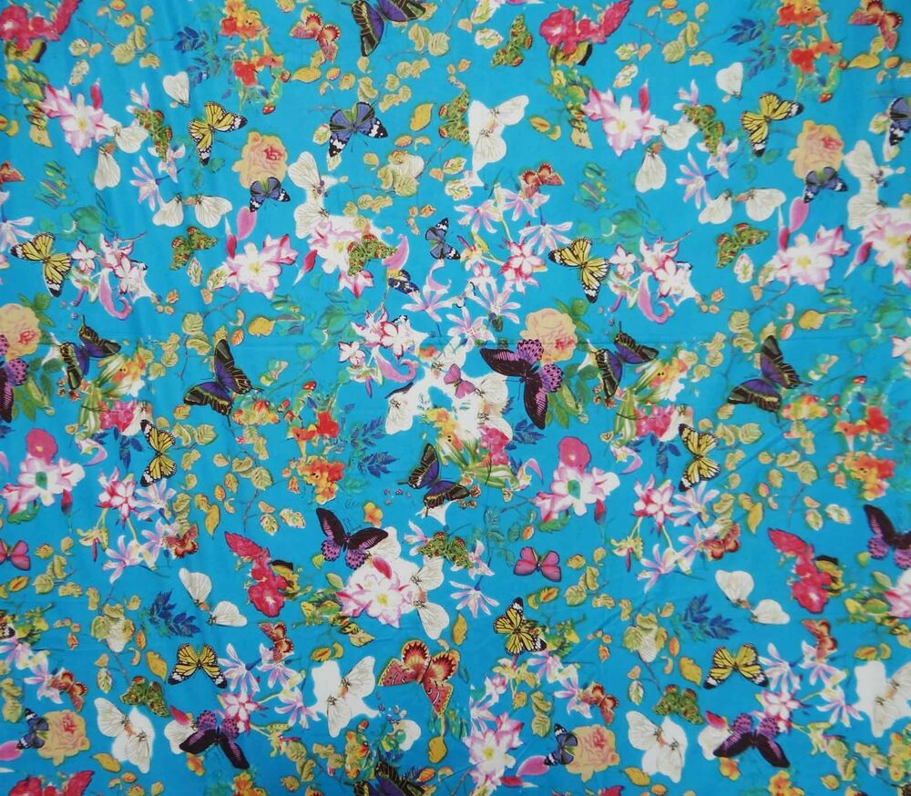 Blue dress making fabric butterfly printed cotton fabric for Printed cotton fabric