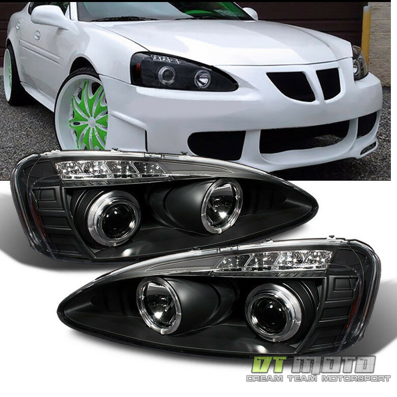 Black 2004 2008 Pontiac Grand Prix Led Dual Halo Projector