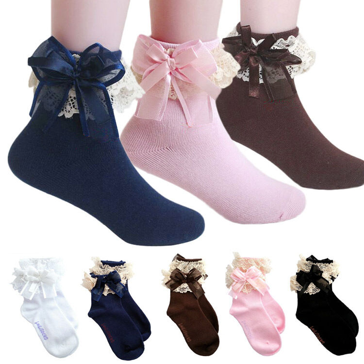 Cute Baby Girls Lace Ruffle Frilly Ankle Socks Sweet