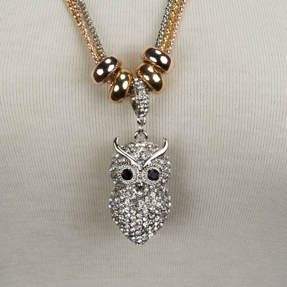 kette anh nger eule owl necklace silber gold strass lang. Black Bedroom Furniture Sets. Home Design Ideas