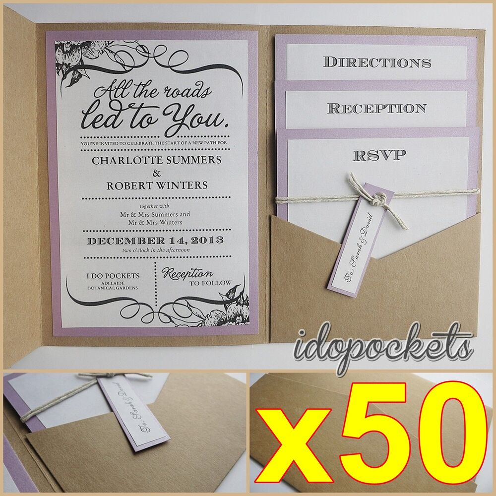 50 X Kraft Wedding Pocket Invitations Diy Pocketfold Envelopes Brown